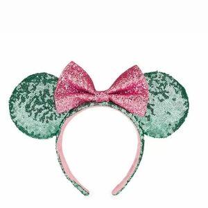 Disney Parks Mint Green Pink Bow Mickey Minnie Seq